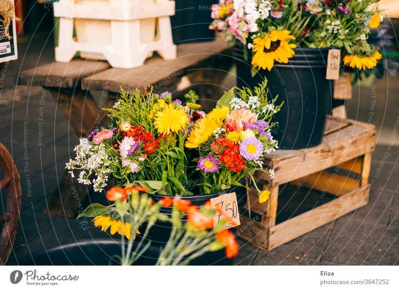 Bunte Blumen und Blumensträuße zum Verkauf an einem Blumenstand Blumenstrauß Frühling bunt Florist Markt frühlingshaft Muttertag Geschäft Blumenladen Sommer