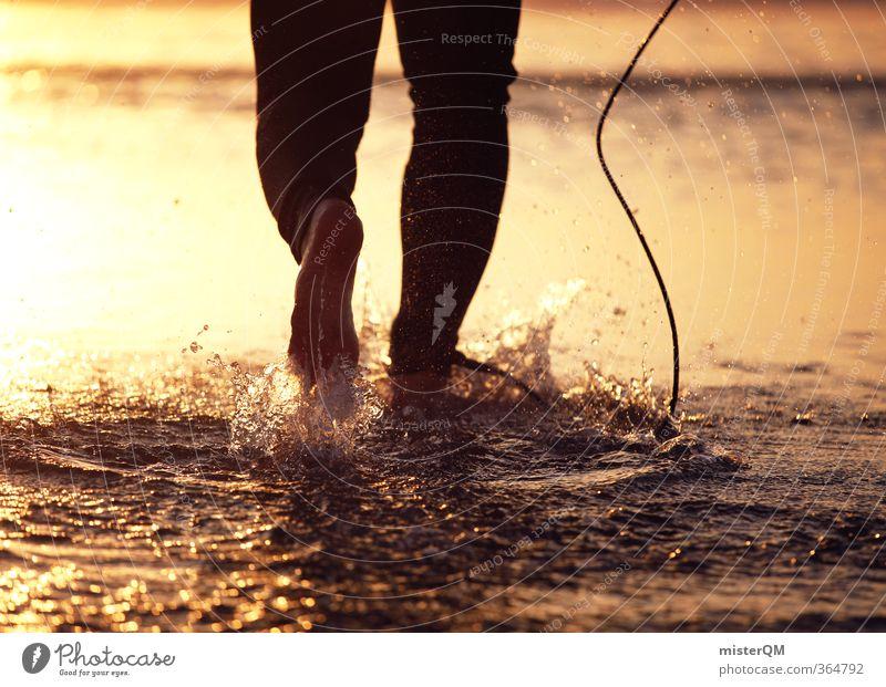 liberdade II Mann Meer Freiheit Fuß Kunst maskulin Zufriedenheit laufen ästhetisch Fitness sportlich Gleichgewicht Surfen Barfuß Wassersport Surfer