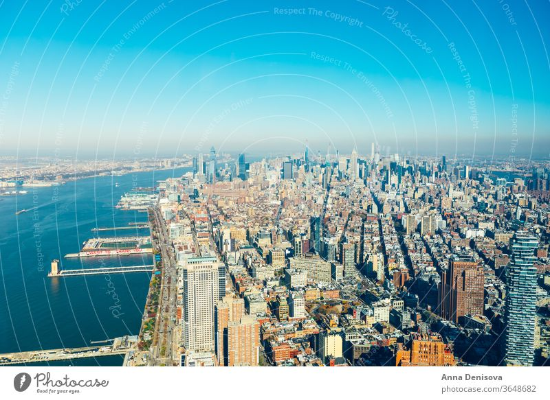 Erstaunlicher Panoramablick auf die Skyline von New York City und Manhattan amerika USA nyc Amerikaner Wahrzeichen Kaiserreich Architektur urban Stadtzentrum