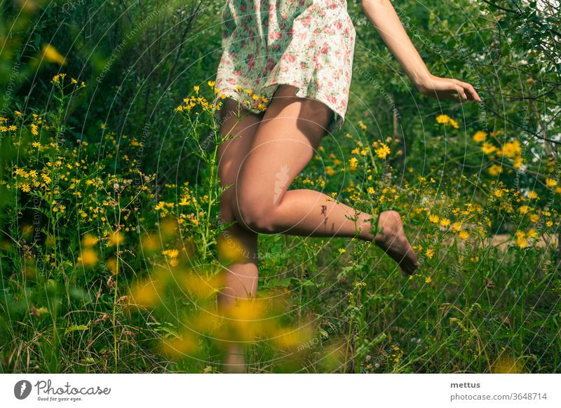 Glückliches Mädchen tanzt im Sommer im Gras und in gelben Wildblumen Beine Tanzen Teil von Körper Kleid springen aktiv Frau jung Schönheit schön Menschen Aktion