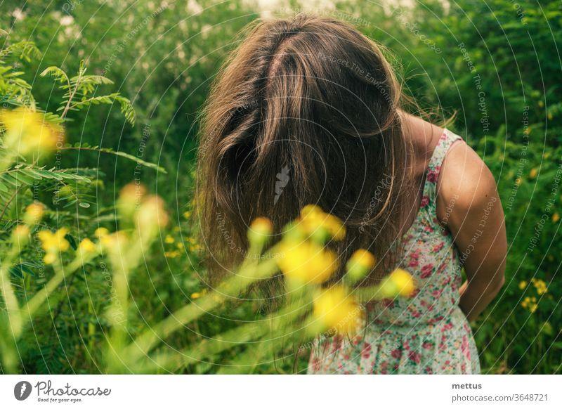 Die hübsche Blondine steht auf einem Sommerfeld und versteckt ihr Gesicht an den Haaren, um ihre Gefühle zu verbergen. blond Kleid Schnappschuss schön Feld Mode