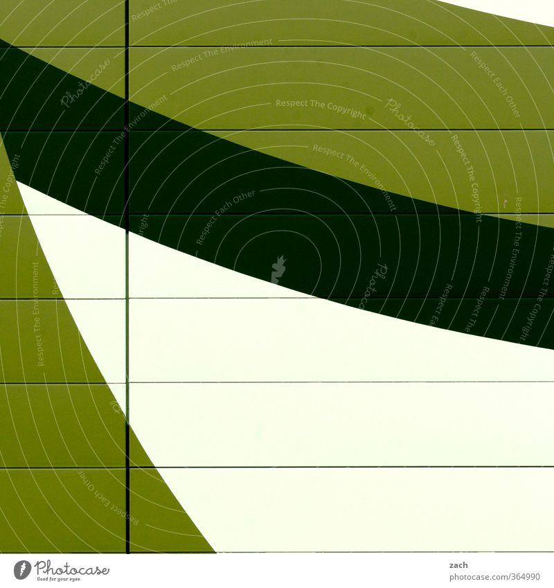 grafisch | grüne Welle Stadt Haus Industrieanlage Fabrik Bauwerk Gebäude Architektur Mauer Wand Fassade Linie weiß graphisch Farbfoto Außenaufnahme abstrakt