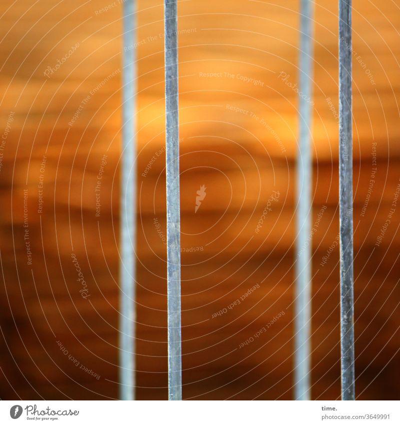 Geschichten vom Zaun (76) zaun grenze schutz sicherheit absperrung durchlässig rot unscharf strebe metall parallel geschwindigkeit verwaschen grau