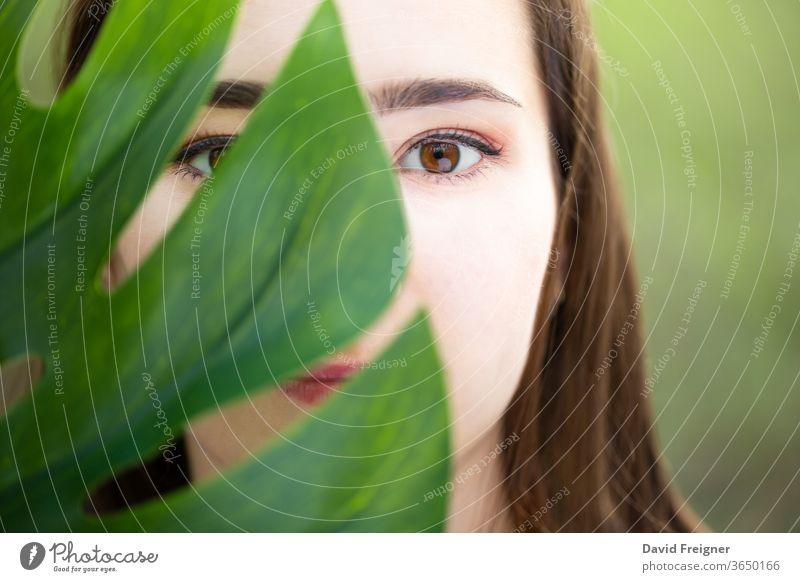 Schöne natürliche junge Frau in Nahaufnahme hinter einem großen Monsterblatt mit grünem Hintergrund in den Wäldern. Haut schön Mädchen Schönheit Gesundheit