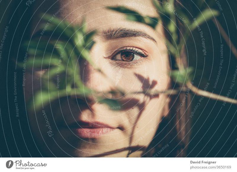 Junge Frau Nahaufnahme Gesichtsporträt in den Wäldern Schönheit natürlich Haut Mädchen Model Blatt Porträt Person hübsch organisch jung Natur Ast Baum attraktiv
