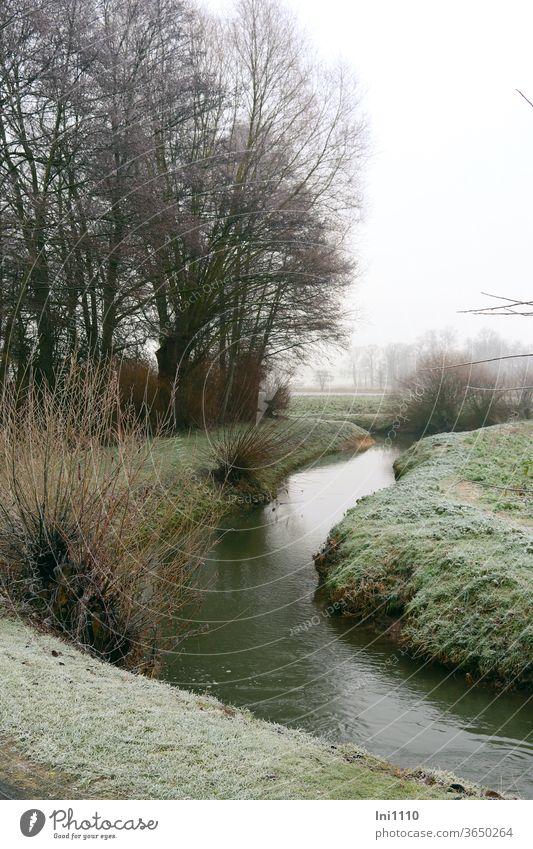 Winterzeit an der Hase Fluss Flußauen fließen Stille Ruhe Wiesen Bäume Sträucher Raureif Natur Schönheit draußensein genießen beobachten menschenleer trübe