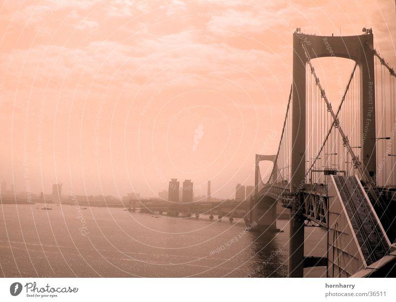 Tokyo 2 Wasser Meer Wolken Straße Küste Nebel Brücke Japan Hängebrücke