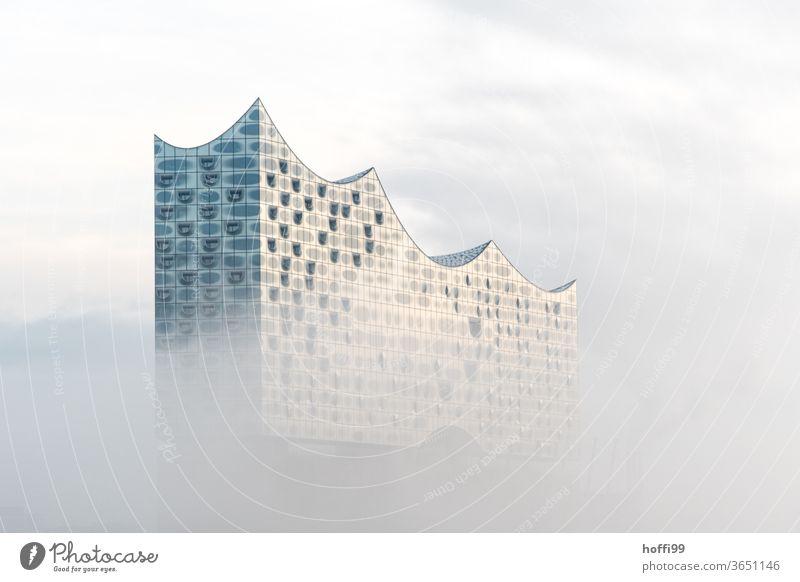 die Elbphilharmonie taucht langsam aus dem morgendlichen Nebel auf Nebelschleier Wahrzeichen Hamburg Architektur Gebäude außergewöhnlich Fassade Kultur Himmel