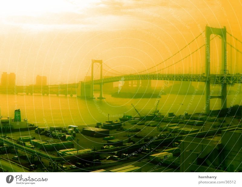 Tokyo 1 Wasser Meer Wolken Straße Japan Küste Nebel Brücke Hängebrücke