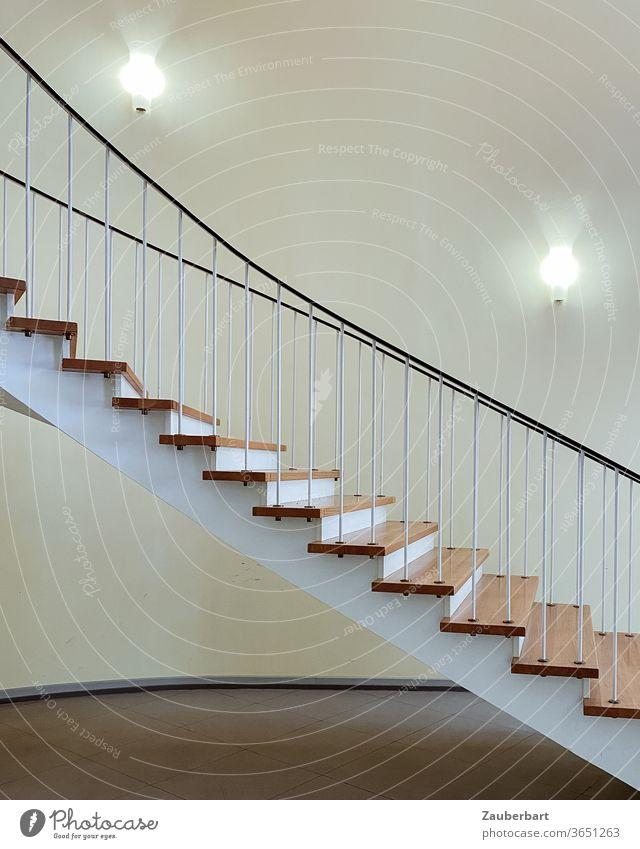 Treppe, Ende der 50er Jahre, in elegantem Schwung abwärts schwebend aufwärts Stufen Geländer Kurve Lampen abstrakt Architektur Detail Treppengeländer Abstieg