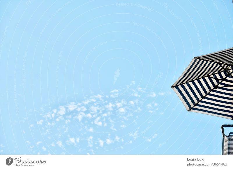 Blauer Himmel, blaue Streifen Wolken Schäfchenwolken Sonnenschirm Sommer Leichtigkeit weit oben hoch Außenaufnahme Farbfoto Tag Menschenleer Schönes Wetter