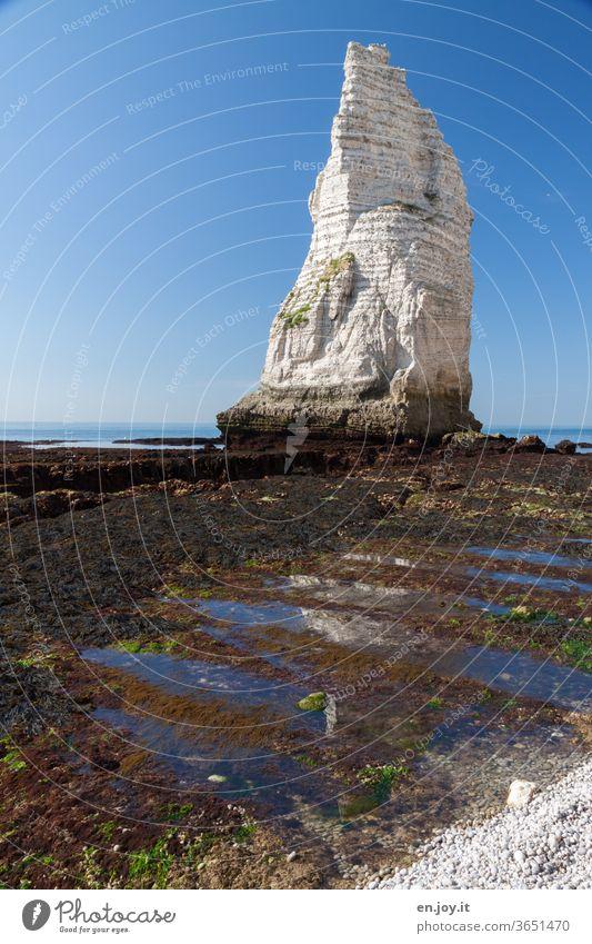 Felsennadel bei Ebbe in Étretat Aiguille Felsnadel Felsformation Kalkstein Kreidefelsen Meer Erosion Wasser Spiegelung Klima Wetter Himmel blau Blauer Himmel