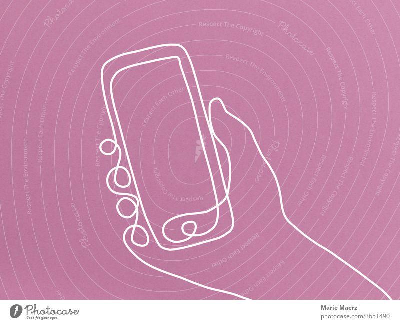 Handy in der Hand - Linienzeichnung Hintergrund neutral Kommunizieren Ablenkung Sucht Chatten Lifestyle Information Neugier Freizeit & Hobby modern