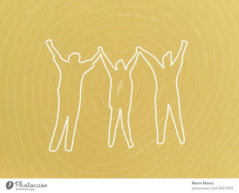 Jubel, Freude, Freundschaft: Linienzeichnung mit 3 Menschen, die gemeinsam die Hände in die Luft werfen Freiheit positiv Jubelnd Erfolg freuen Glück Freunde