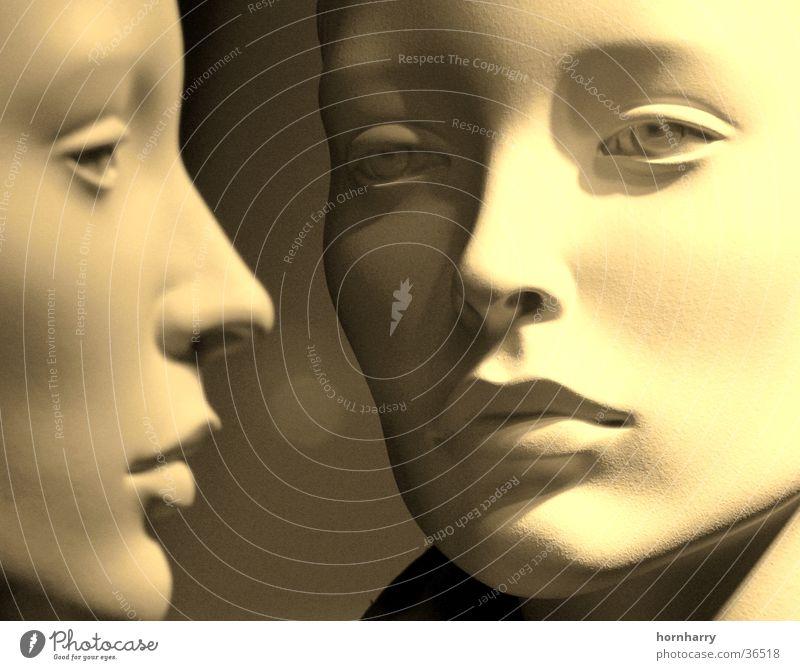 Blick 3 Wimpern Lippen Wange Duplex Silhouette Frau schön weiß Schaufensterpuppe Porträt Paar 2 Auge Nase Profil Gesicht Mund Puppe bleich paarweise