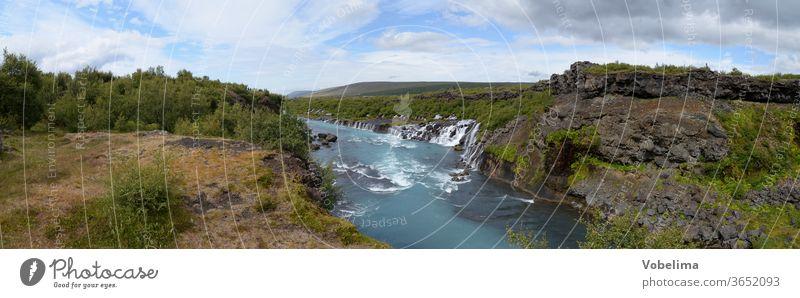 Panorama des Hraunfossar, Island wasserfall wasserfälle kaskade kaskaden fluss Hvítá Húsafell Reykholt.hvita husafell natur landschaft sehenswert