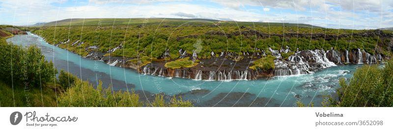 Panorama des Hraunfossar in Island wasserfall wasserfälle kaskade kaskaden fluss Hvítá Húsafell Reykholt.hvita husafell natur landschaft sehenswert