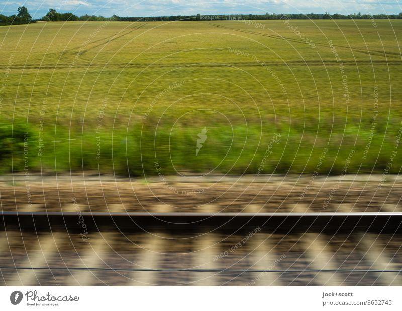 schnell fuhren wir auf Schienen durch die sommerlich getrübte Landschaft Getreidefeld Natur Geschwindigkeit Panorama (Aussicht) Bewegungsunschärfe Horizont