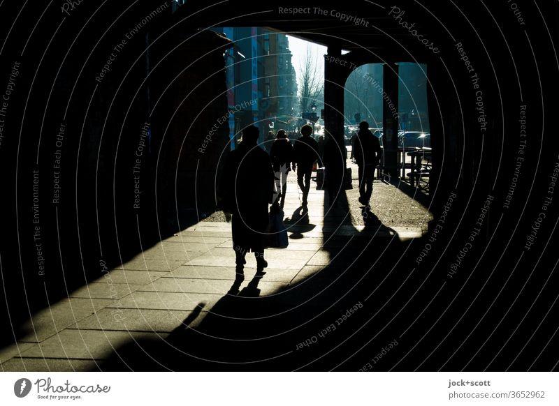 Winterharte Gestalten kommen bei sonnigen Wetter weiterhin gut durch den Tag Identität Schatten Silhouette Dimension Schattenspiel Wege & Pfade gehen