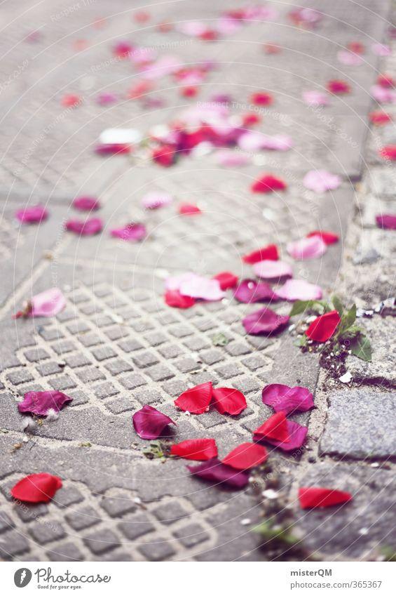 Rosentag. rot Straße Kunst rosa ästhetisch Hochzeit viele Rosenblätter Hochzeitstag (Jahrestag) Hochzeitszeremonie Hochzeitsgesellschaft