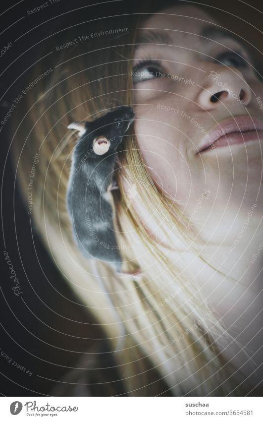 mäuse (eine große eine kleine) Maus Tier Säugetier Mädchen Teenager Jugendliche Nagetier Angst Ekel Freude süß Neugier winzig tierisch lustig niedlich Haustier