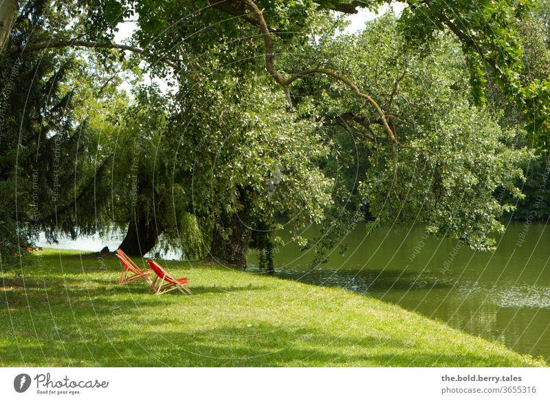Rote Liegestühle unter einem Baum am Ufer eines Sees Liegestuhl Sommer Erholung Sonnenbad Sommerurlaub Tag Menschenleer Farbfoto Außenaufnahme baden Badeurlaub