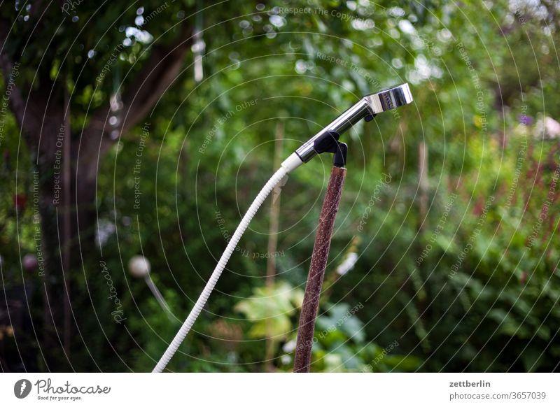 Dusche im Garten garten kleingarten dusche hygiene sauber erfrischung wasser schlauch wasserschlauch duschkopf halterung mikrofonhalter mikrophon microphone ast