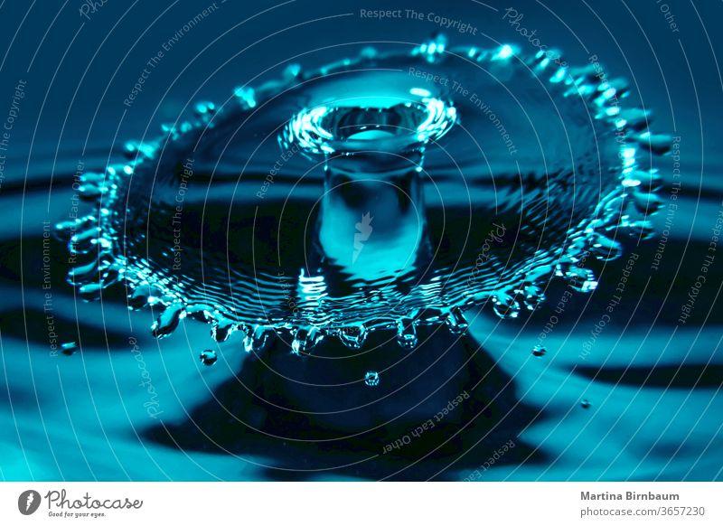 Aufeinanderprallende Wassertropfen bilden einen Wasserschirm platschen Licht Tropfen frisch liquide blau Sauberkeit abstrakt Natur Makro winken durchsichtig