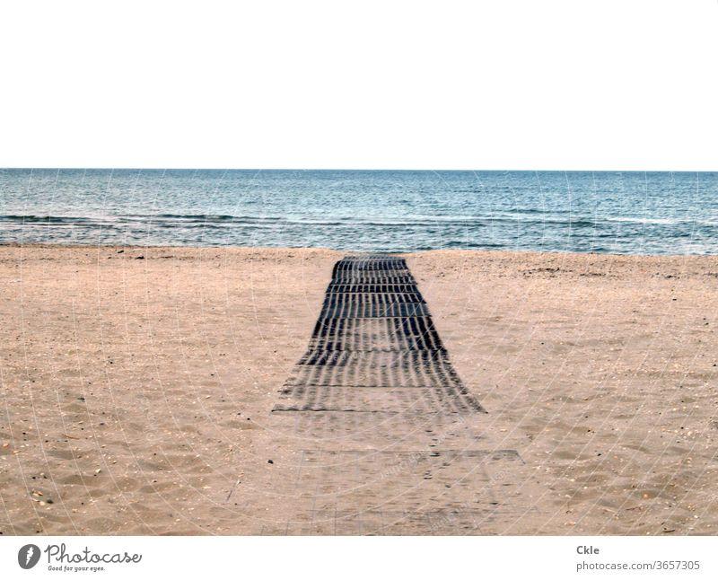 Holzweg Strand Meer Sand Wellen Dünung Einsamkeit Corona Wasser Küste Himmel Ferien & Urlaub & Reisen Menschenleer Außenaufnahme Sommer Erholung Farbfoto