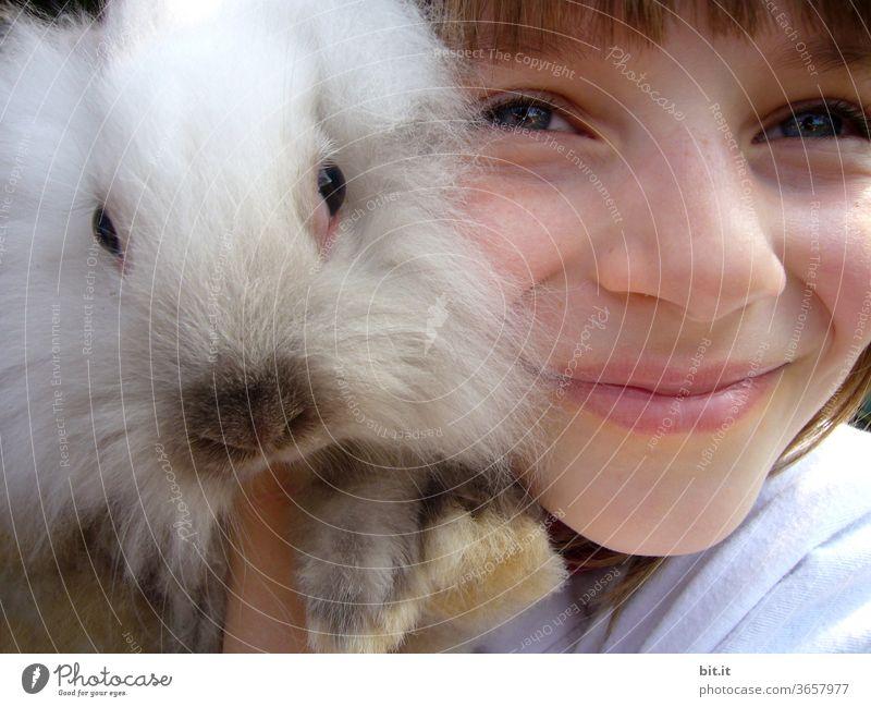 mulle's lieblingsmensch... Mädchen Kind Kindheit Mensch weiblich Hase & Kaninchen Zwergkaninchen haarig Fell flauschig Osterhase Haustier Tier niedlich