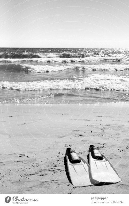 Schwimmflossen am Strand Meer Sand Wasser Wellen Sonne Himmel Küste Sommer Ferien & Urlaub & Reisen Außenaufnahme Sommerurlaub Menschenleer Erholung Tourismus