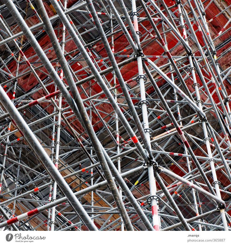 Baugerüstbau Architektur außergewöhnlich Linie Hintergrundbild verrückt Wandel & Veränderung Baustelle viele chaotisch bauen