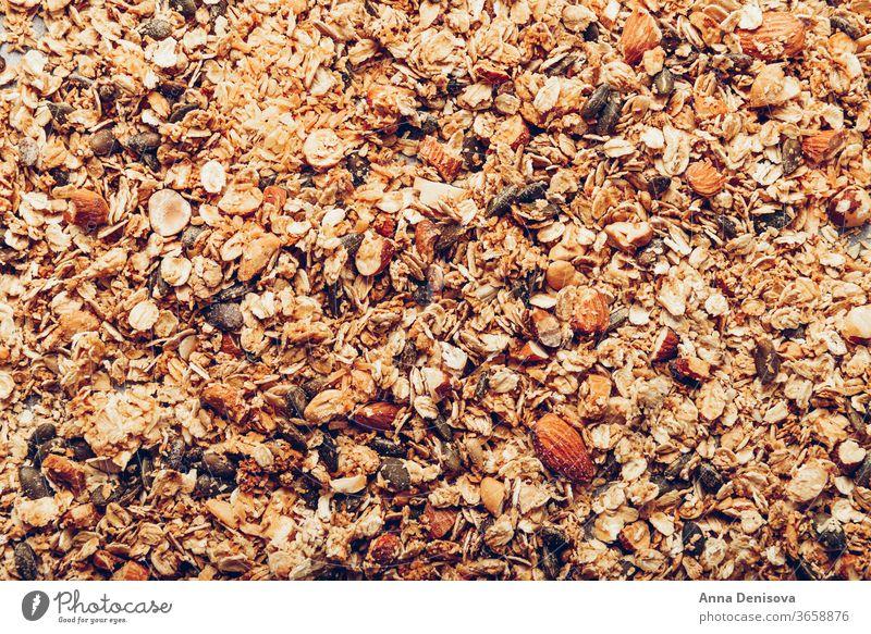 Hausgemachtes glutenfreies Müsli zuckerfrei Hafer selbstgemacht süß Muttern Gesundheit Korn Diät Samen Frühstück gebraten Sonnenblume Ahornsirup Lebensmittel