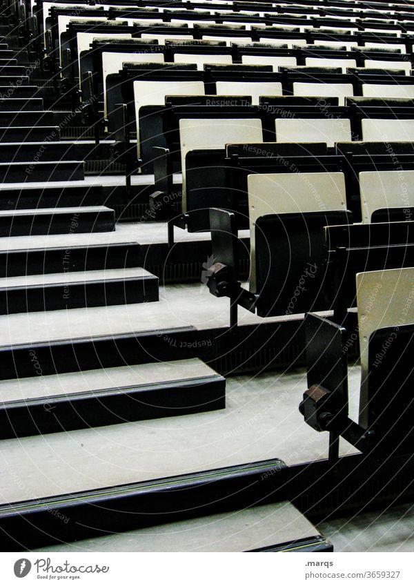 Stuhllandschaft Sitzreihe Bestuhlung Steigung leer Veranstaltung Studium schwarz Platz Hörsaal Bildung Publikum klappsitz Sitzgelegenheit Akademiker