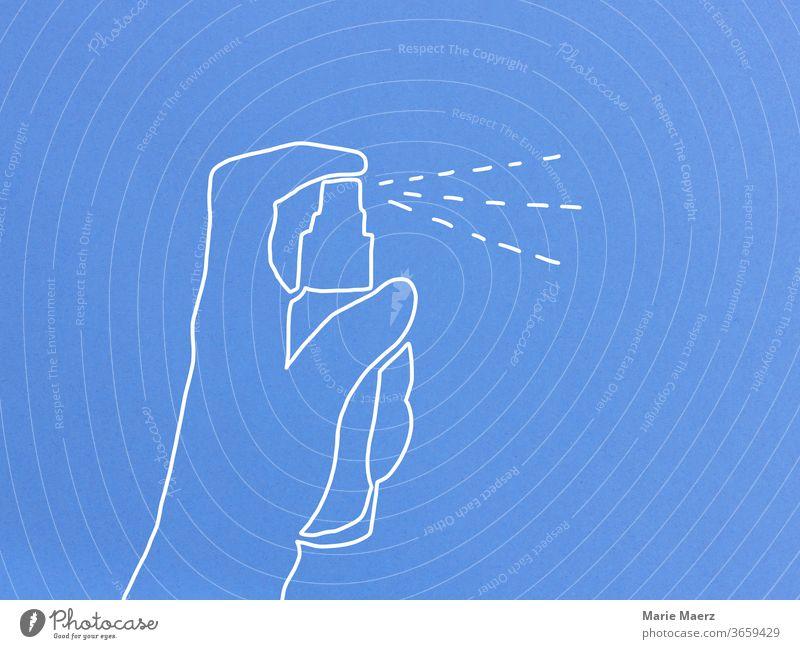 Linienzeichen einer Hand, die mit einer Sprühflasche sprüht Spray sprühen Desinfektionsmittel desinfizieren Zeichnung Linienzeichnung Nah Hintergrund neutral