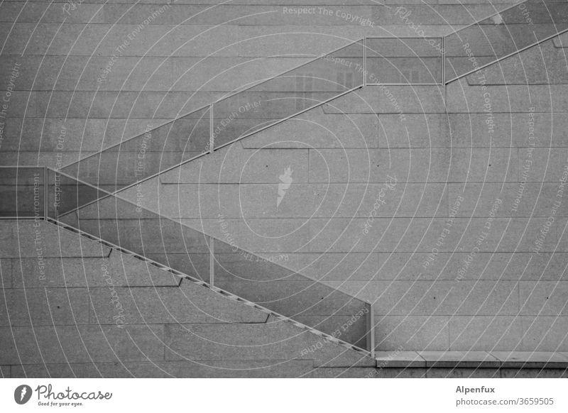 Schräge, gleichmäßig gestuft Treppe Treppengeländer Geländer Architektur Menschenleer abwärts aufwärts aufsteigen Abstieg Maurer Wand Schwarzweißfoto Stadthaus