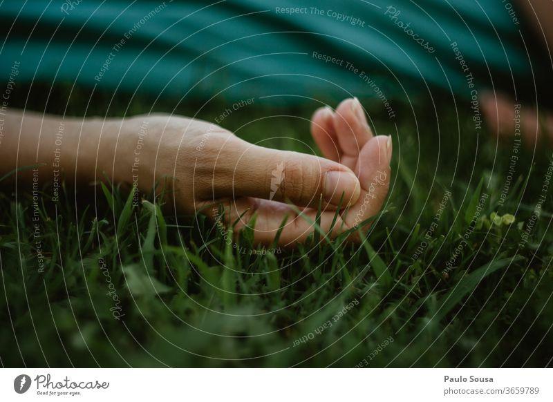 Hand aus nächster Nähe auf dem Rasen Körperteil Nahaufnahme Hände Finger Mensch Außenaufnahme Entwurf Haut minimalistisch Hintergrund gestikulieren Menschen