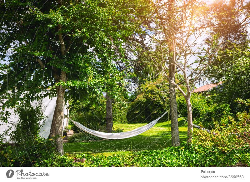 Weiße Hängematte in einem grünen Garten Laubwerk erhängen niemand einfach Apfel Freiheit Hinterhof Frühling sorgenfrei weiß Resort Sonnenlicht idyllisch