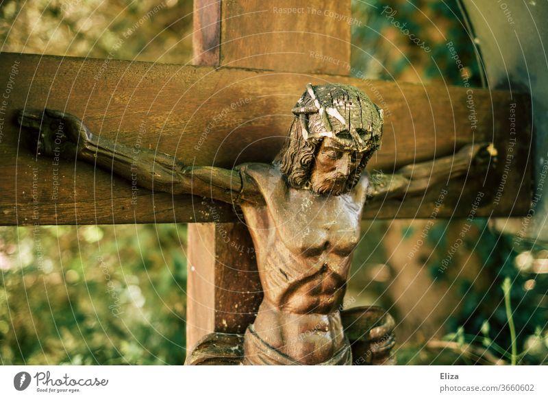 Jesus Christus am Kreuz Christentum heilig Glaube Kreuzigung Kruzifix Religion & Glaube Abbildung Erlösung Holz Kirche Figur Katholizismus Christliches Kreuz