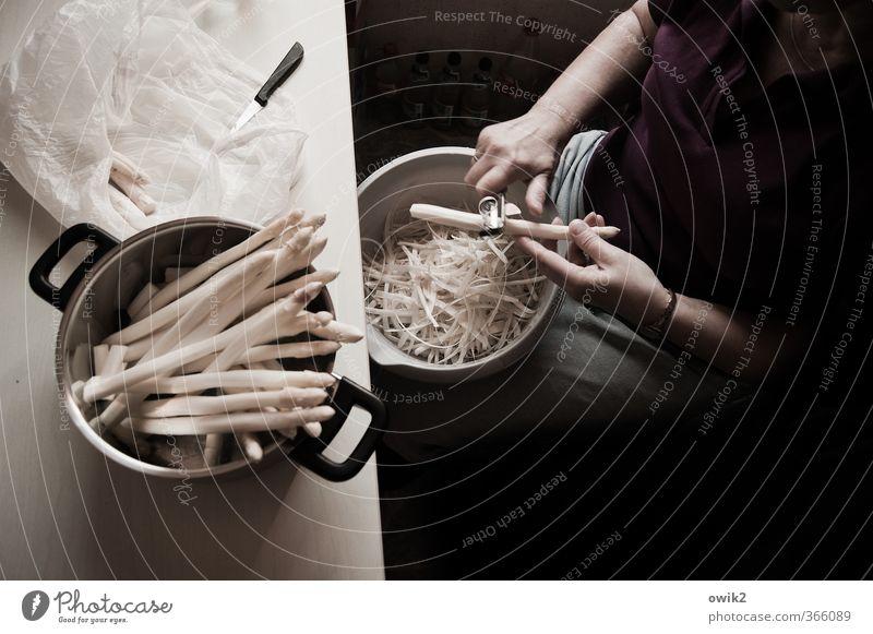 Junges Gemüse Mensch Frau Hand Erwachsene feminin Arbeit & Erwerbstätigkeit sitzen Arme viele festhalten Vorfreude Schalen & Schüsseln Messer geduldig Ausdauer