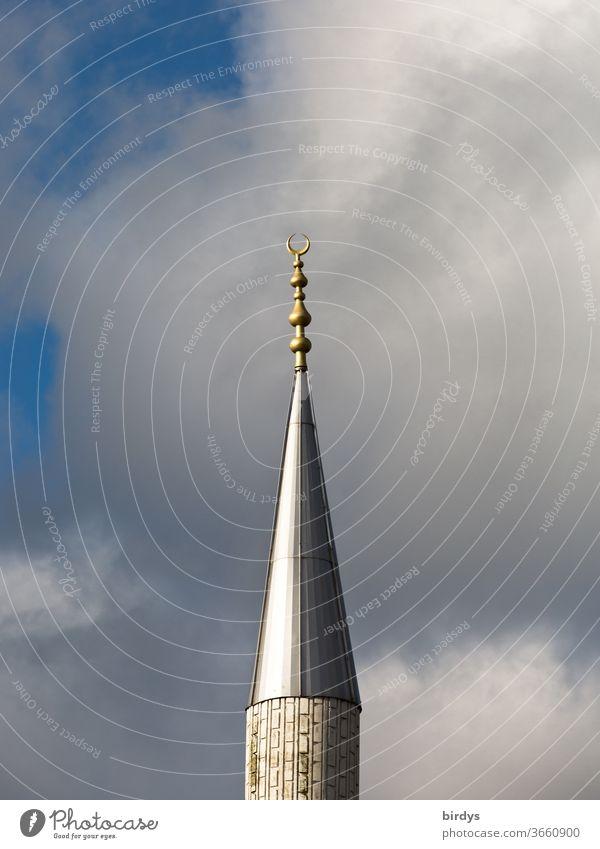 Ditib-Moschee in Wesseling - NRW Islam Minarett Wolken Himmel Abendlicht liegender Halbmond Religion & Glaube Reflektion Deutschland religiöses Symbol