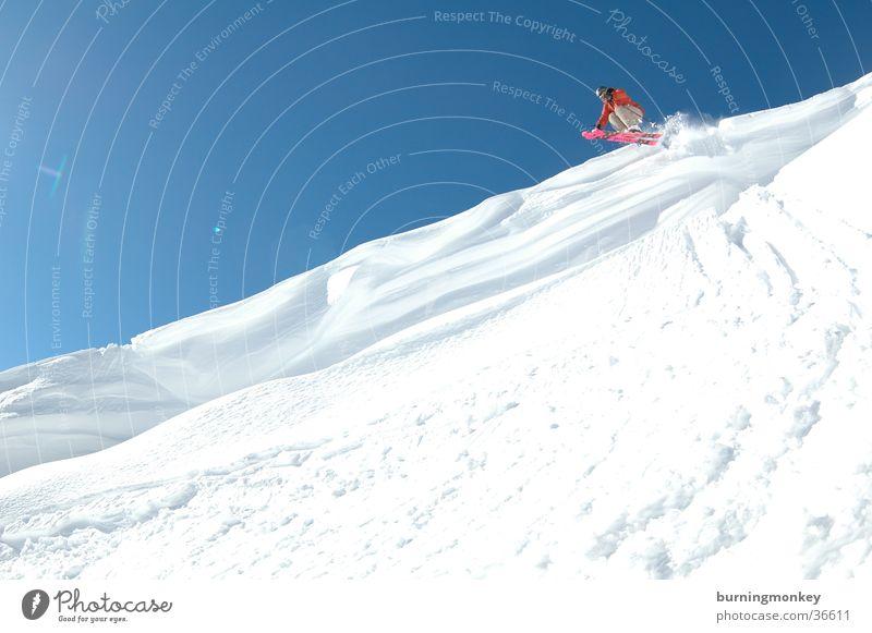 ski#1 Pulverschnee springen Skifahrer Skifahren Extremsport Schnee air