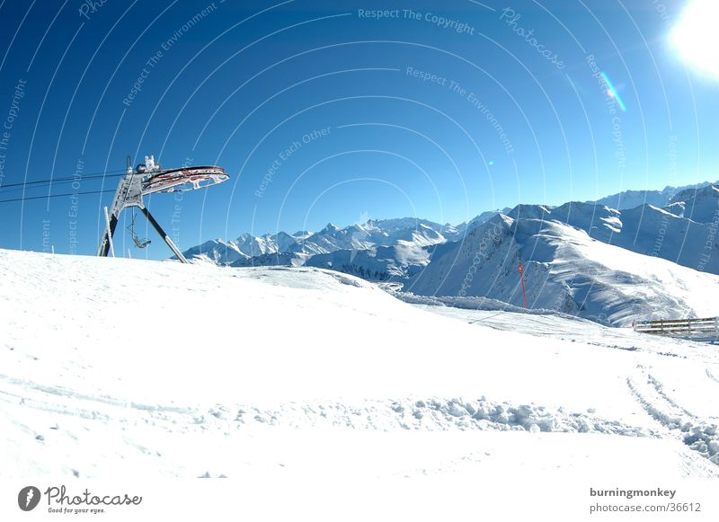 lift die zweite Himmel blau Sonne Schnee Berge u. Gebirge Alpen Sesselbahn Pulverschnee