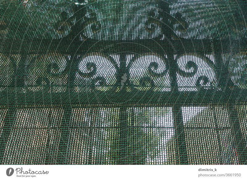Zaungeländer aus antikem Metall unter transparentem Trümmernetz getrieben bügeln Antiquität Geländer hinten durchsichtig Netting Muster dekorativ ornamental
