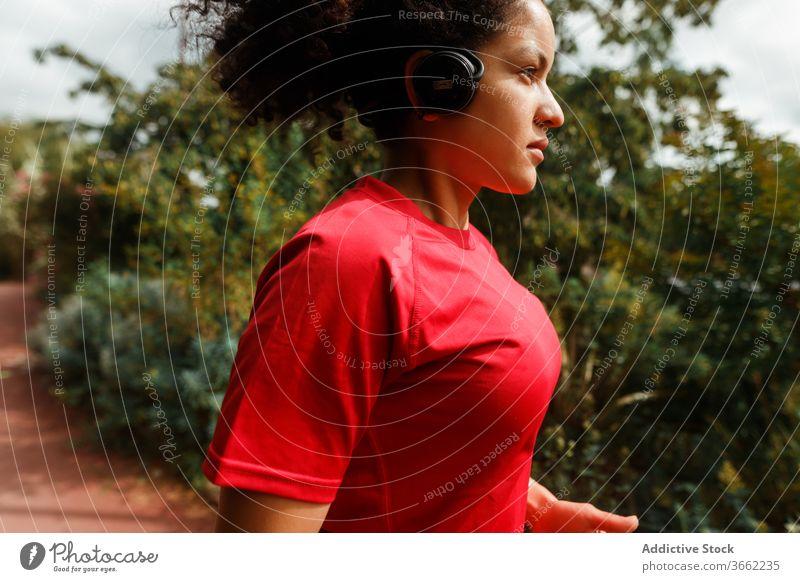 Ethnischer Läufer im Kopfhörer beim Joggen in der Nähe von Bäumen bei Tageslicht joggen Training Sport Konzentration Sportbekleidung Drahtlos benutzend Headset