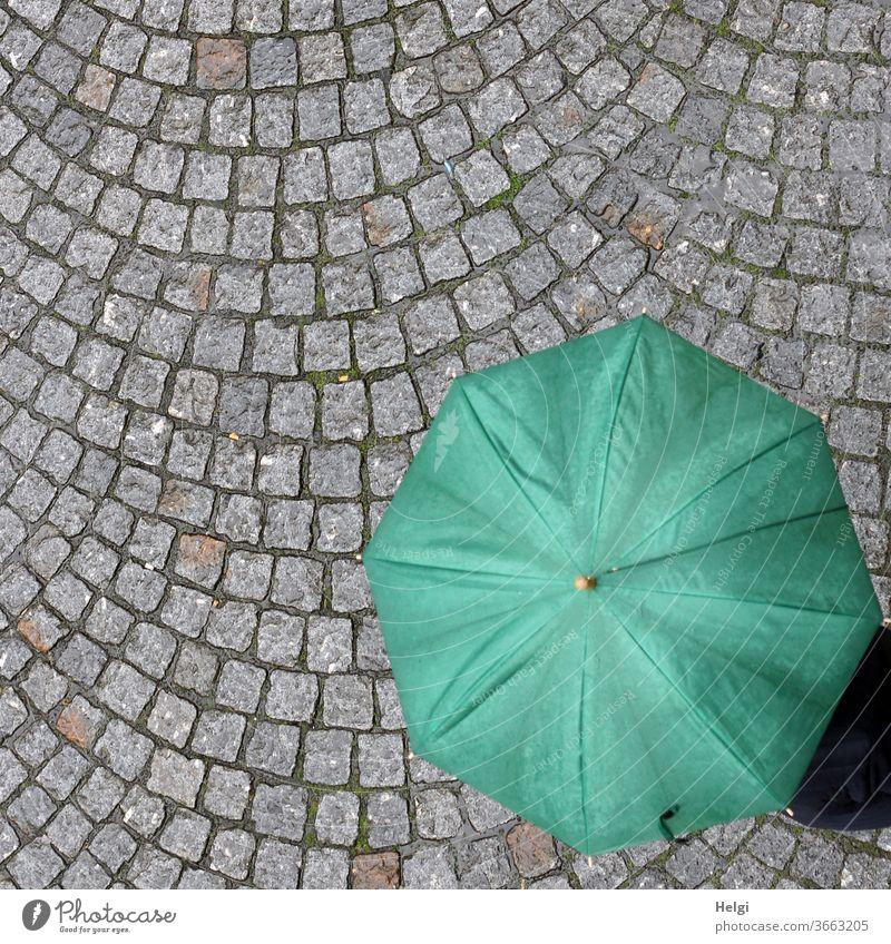 rainy day - grüner Regenschirm mit Mensch darunter auf grauen Pflastersteinen aus der Vogelperspektive Regentag Straße Außenaufnahme Farbfoto Wetter