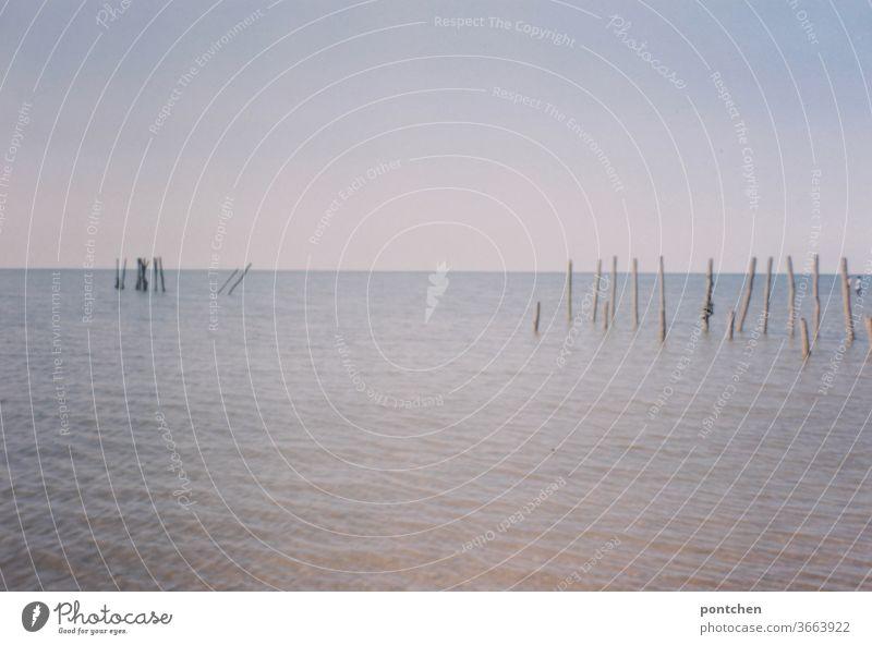 Gewässer, Stöcke und blauer Himmel stöcke begrenzung see himmel sommer wasser wellen meer ruhe natur Horizont