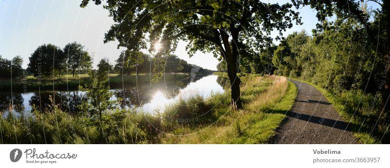 Kanal bei Bad Bederkesa Haldenkanal bederkesa schlechte Bederkesa geestland Niedersachsen Landschaft Fluss Bach aus Sonne Gegenlicht Baum Norddeutschland