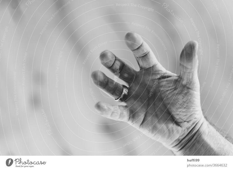 Hand mit Ring menschliche Hand Heirat Mensch Finger Erwachsene ältere Hände alter Mann fünf Senior Leben maskulin elegant ästhetisch einzigartig groß nackt