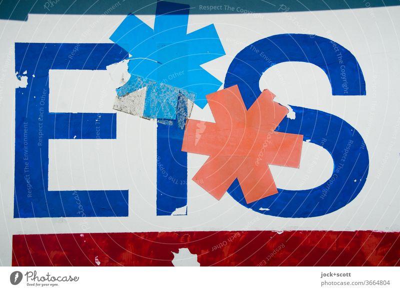 ramponierte Werbung für Eis mit zwei Sternchen Süßigkeit Schrift Schilder & Markierungen Schriftzeichen Typographie Wort abgeplatzt Klebeband Sterne Hinweis